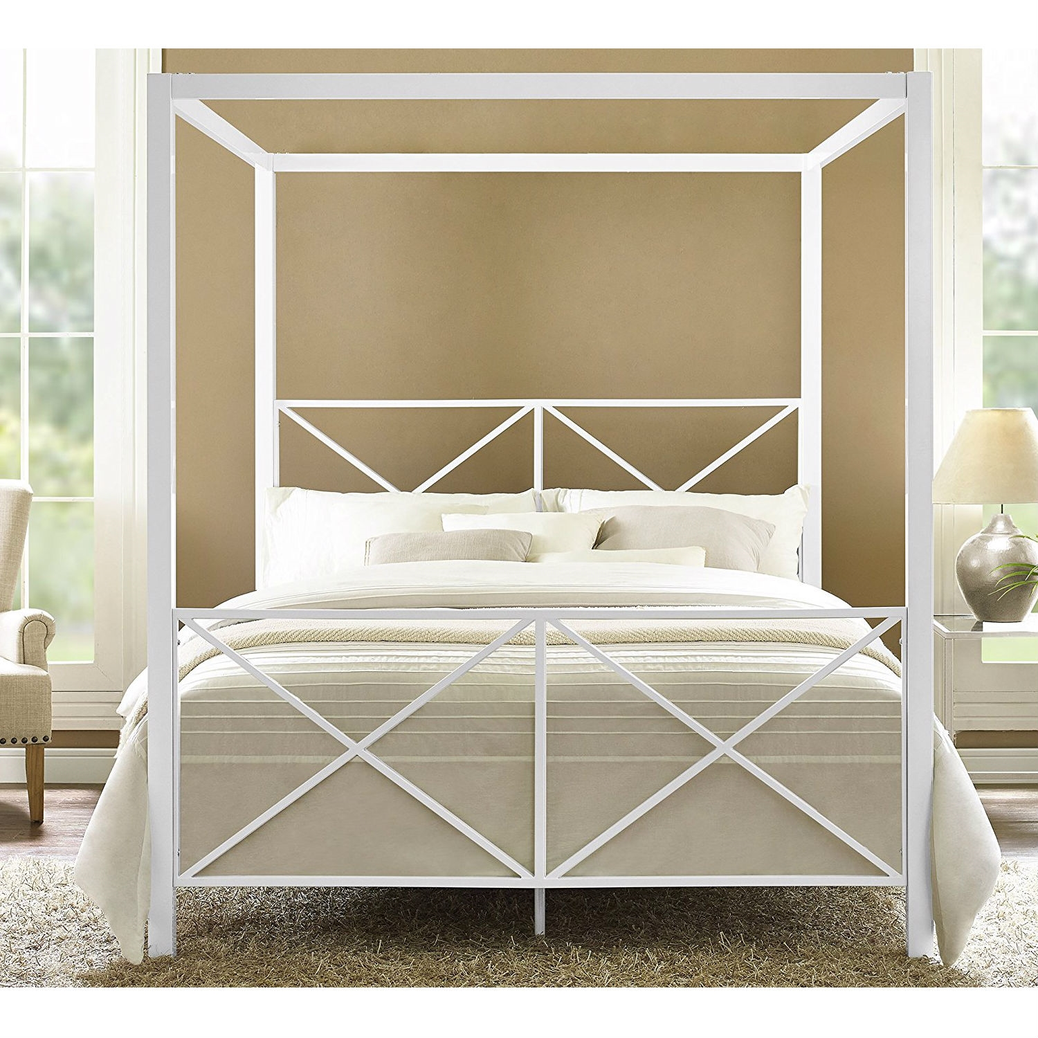 Queen Size Sturdy Metal Canopy Bed Frame In White Fastfurnishings Com