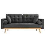 Modern Dark Grey Upholstered Sofa with Mid-Century Style Wood Legs