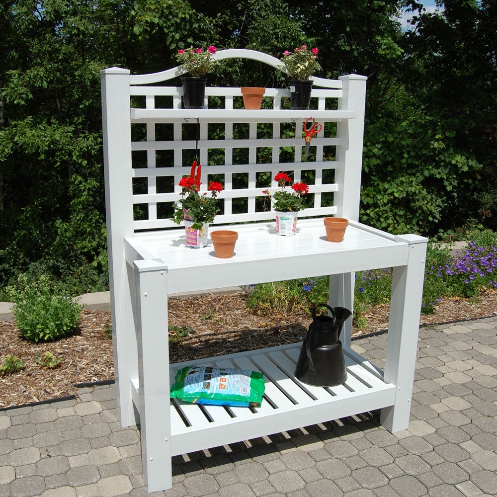 Garden Potting Bench: White Vinyl Outdoor Potting Bench With Trellis