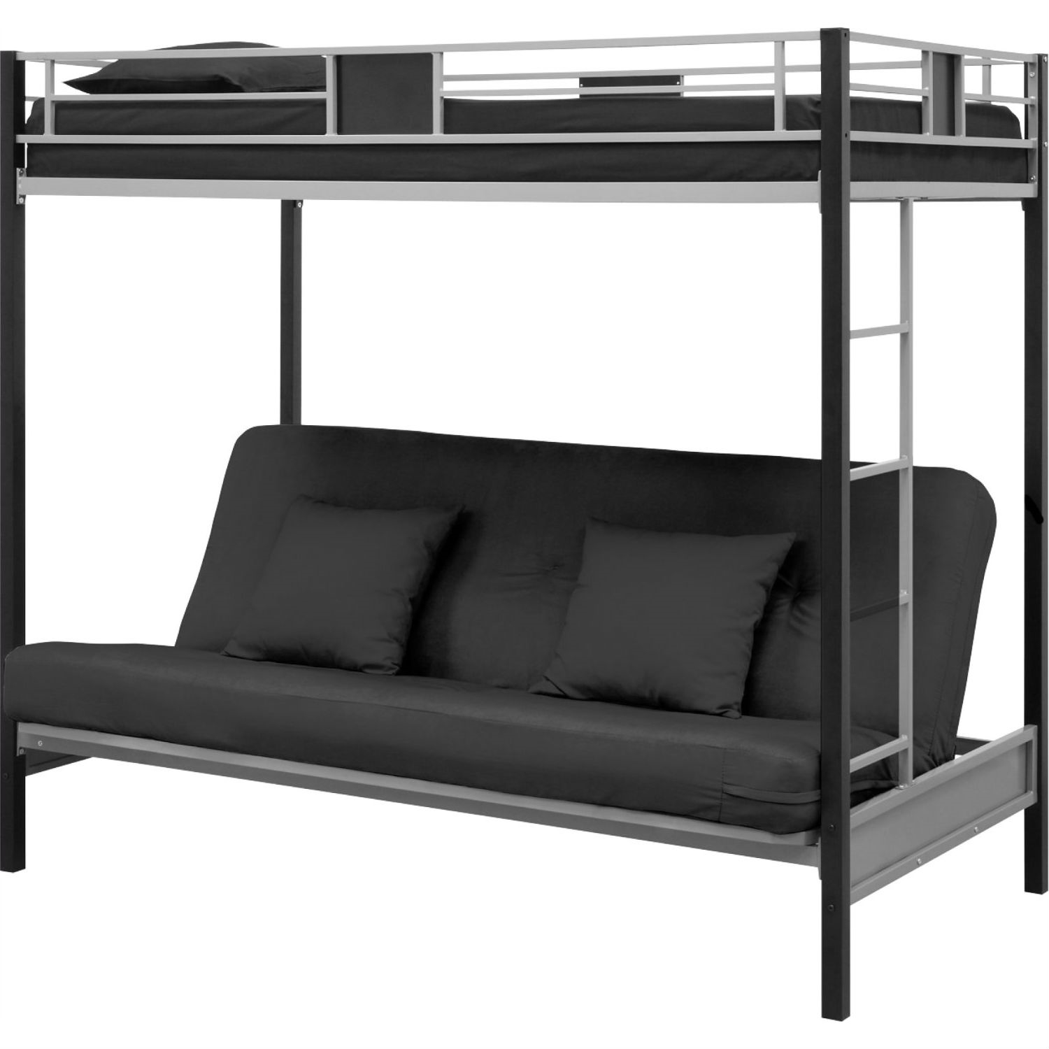 Twin Over Futon Bunk Bed In Silver Black Metal Finish