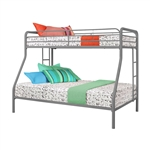 Twin over Full size Sturdy Metal Bunk Bed in Silver Finish