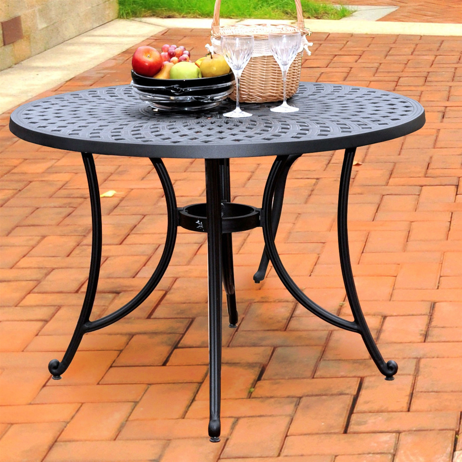 Round 42 Inch Cast Aluminum Outdoor Dining Table In Charcoal Black Fastfurnishings Com