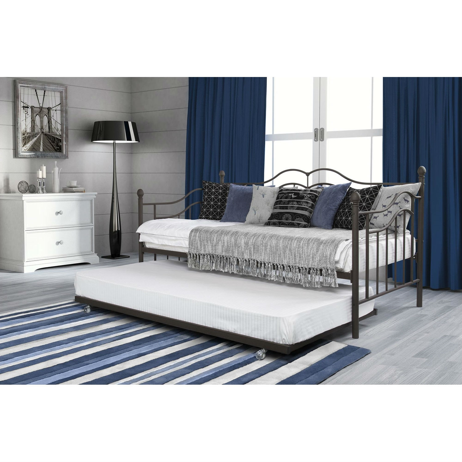 Twin size Daybeds with Trundle Bed in Brushed Bronze Metal Finish - Twin Size Daybeds With Trundle Bed In Brushed Bronze Metal Finish