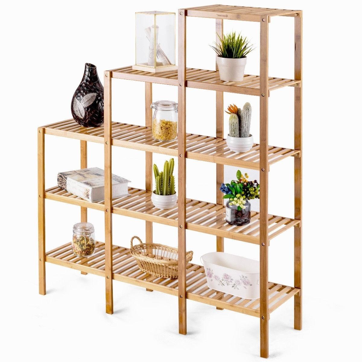 Bamboo Wood 5 Tier Versatile Bookcase