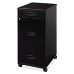 Black 3-Drawer Vertical File Cabinet with Mobile Rolling Casters