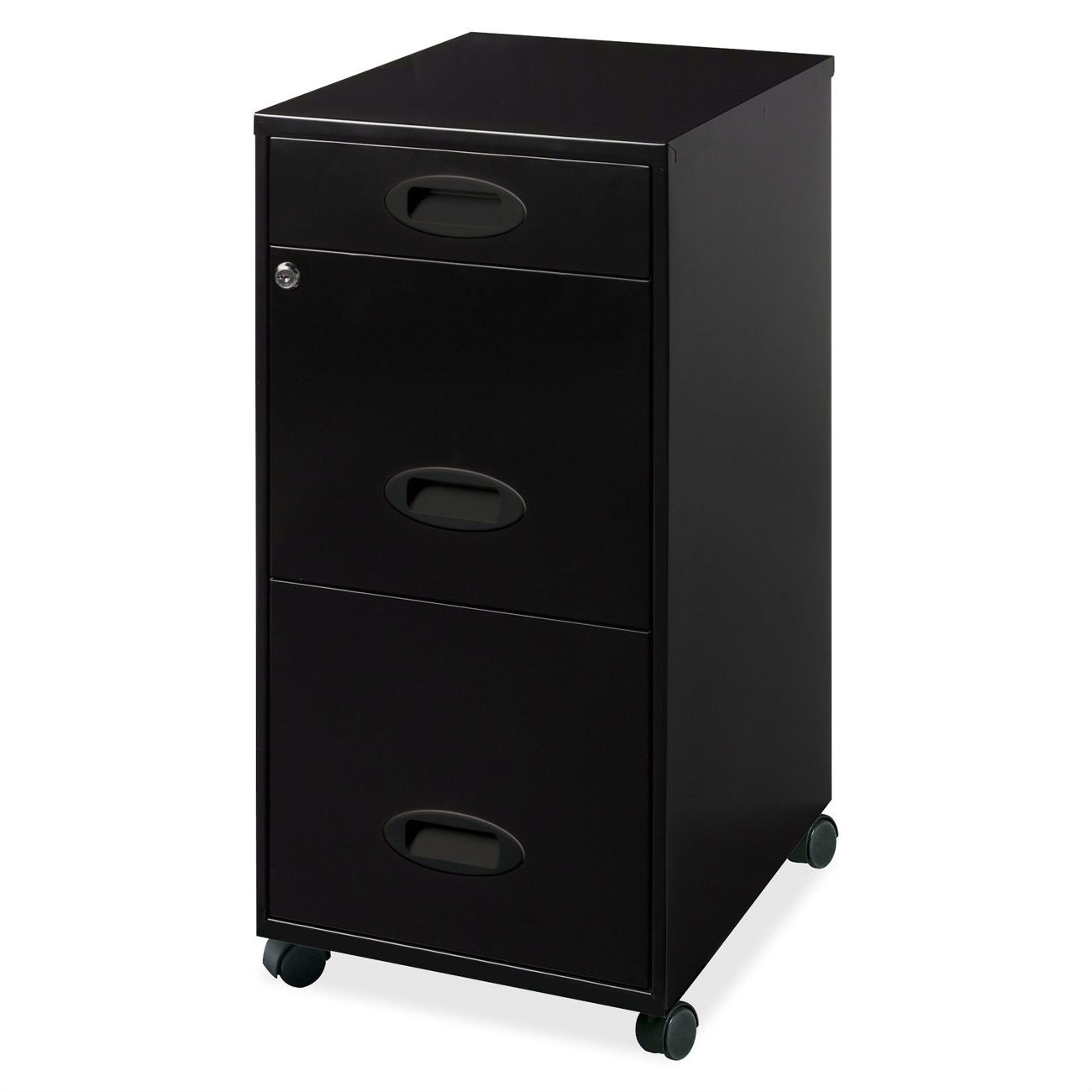 Black 3 Drawer Vertical File Cabinet With Mobile Rolling Casters