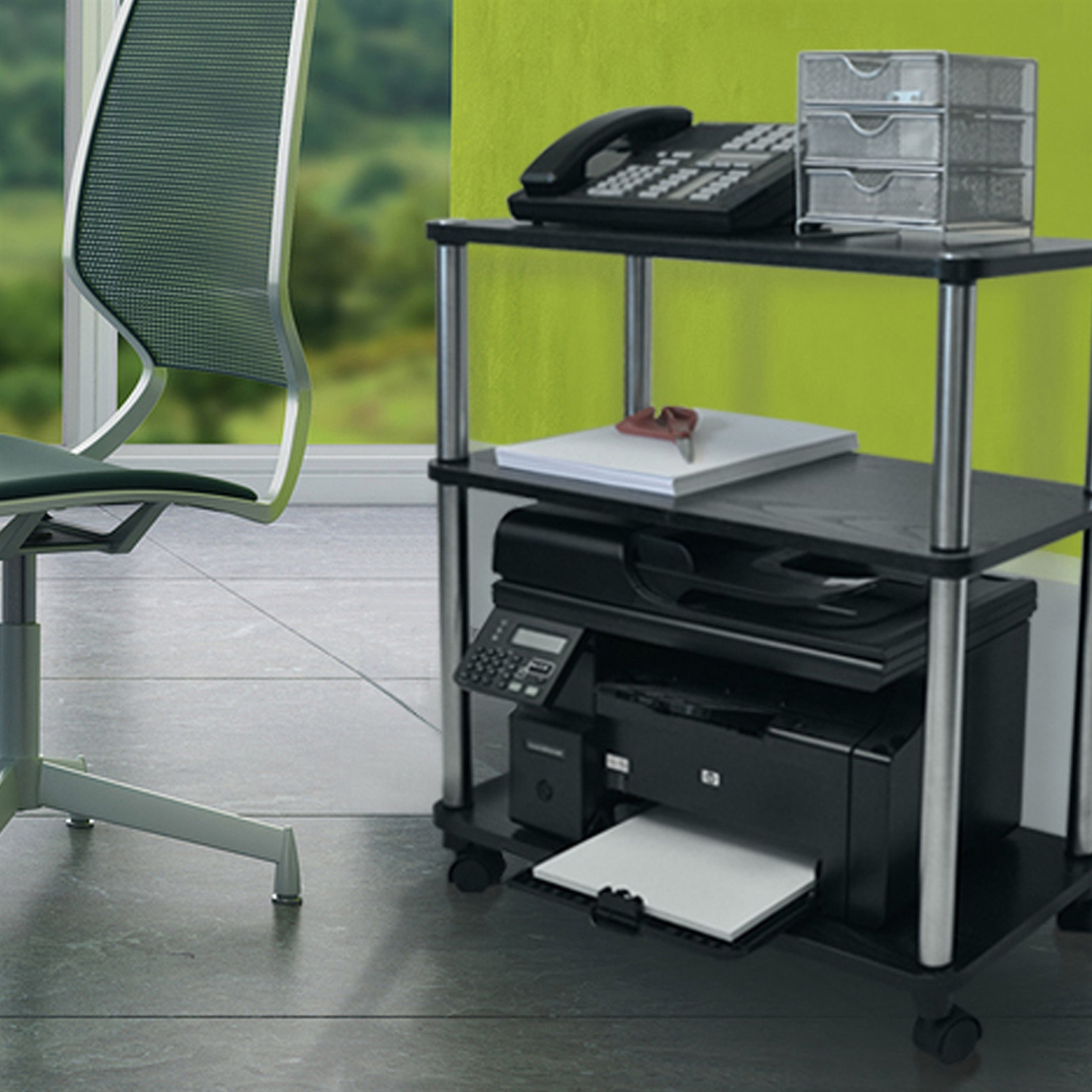 3-Shelf Mobile Home Office Caddy Printer Stand Cart in Black ...