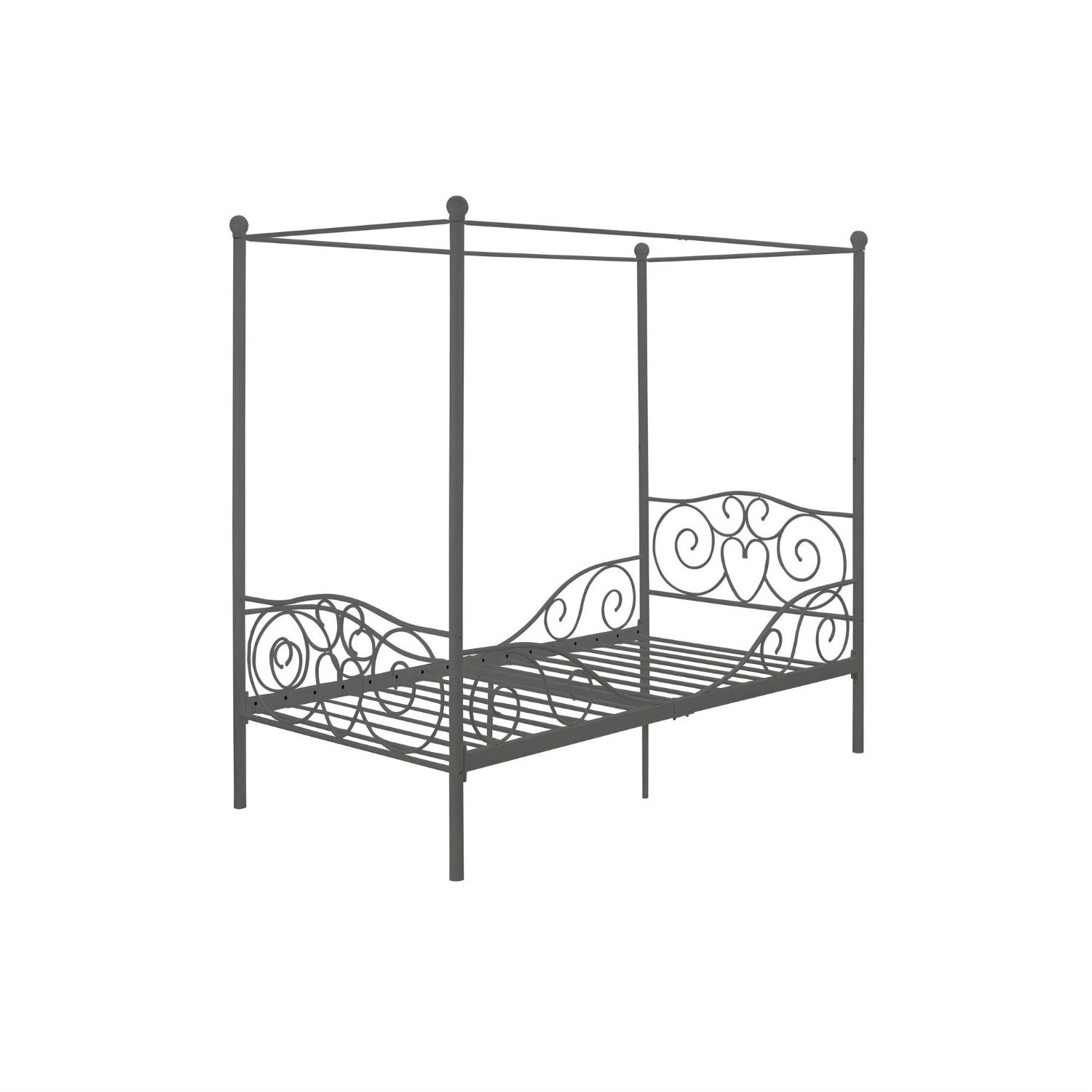 - Twin Size Metal Canopy Bed In Pewter Grey Finish FastFurnishings.com