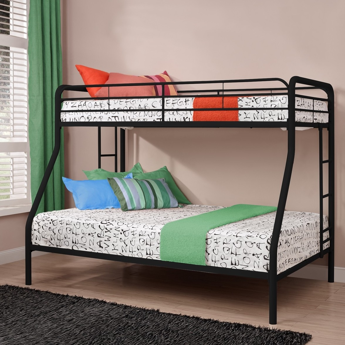 Metal bunk beds full over full - Twin Over Full Size Bunk Bed In Sturdy Black Metal