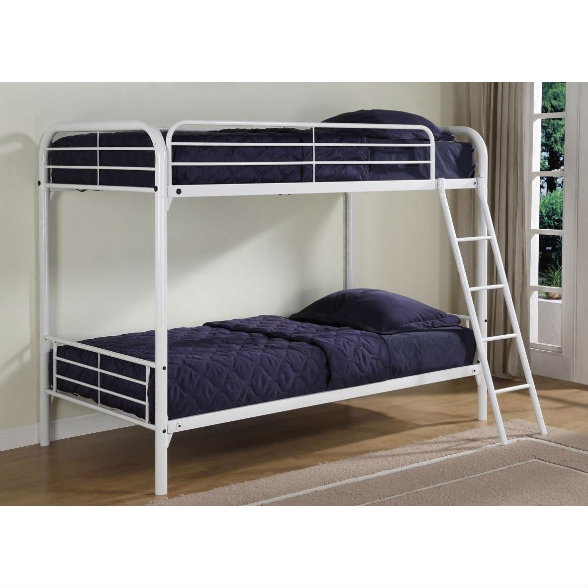 Twin Over Twin Size Sturdy Metal Bunk Bed In White Fastfurnishings Com