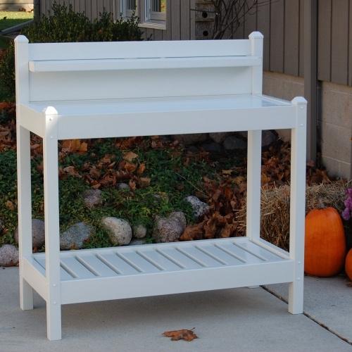 White Pvc Vinyl Potting Bench Outdoor Garden Bakers Rack