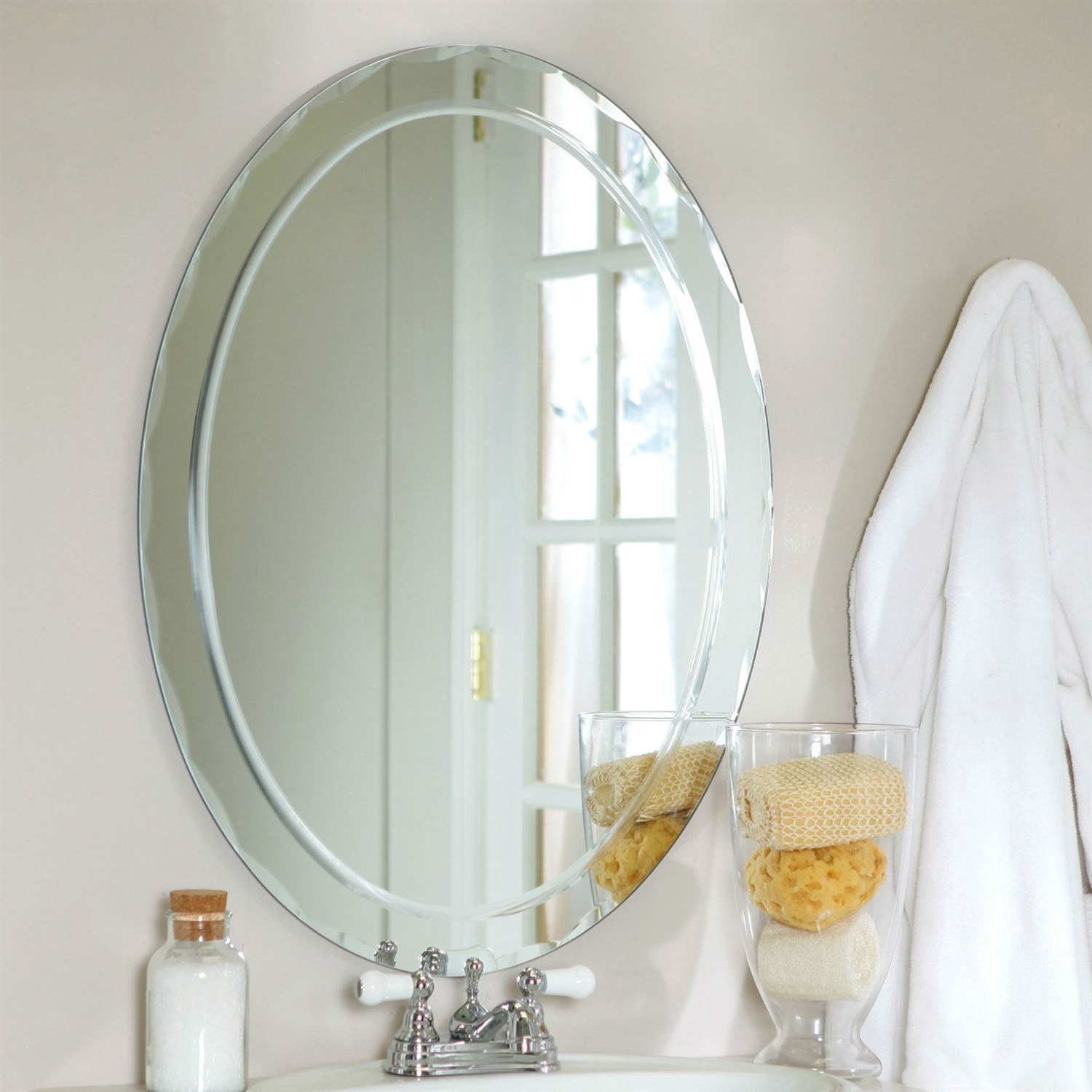Oval Frame Less Bathroom Vanity Wall Mirror With Beveled Edge Scallop Border