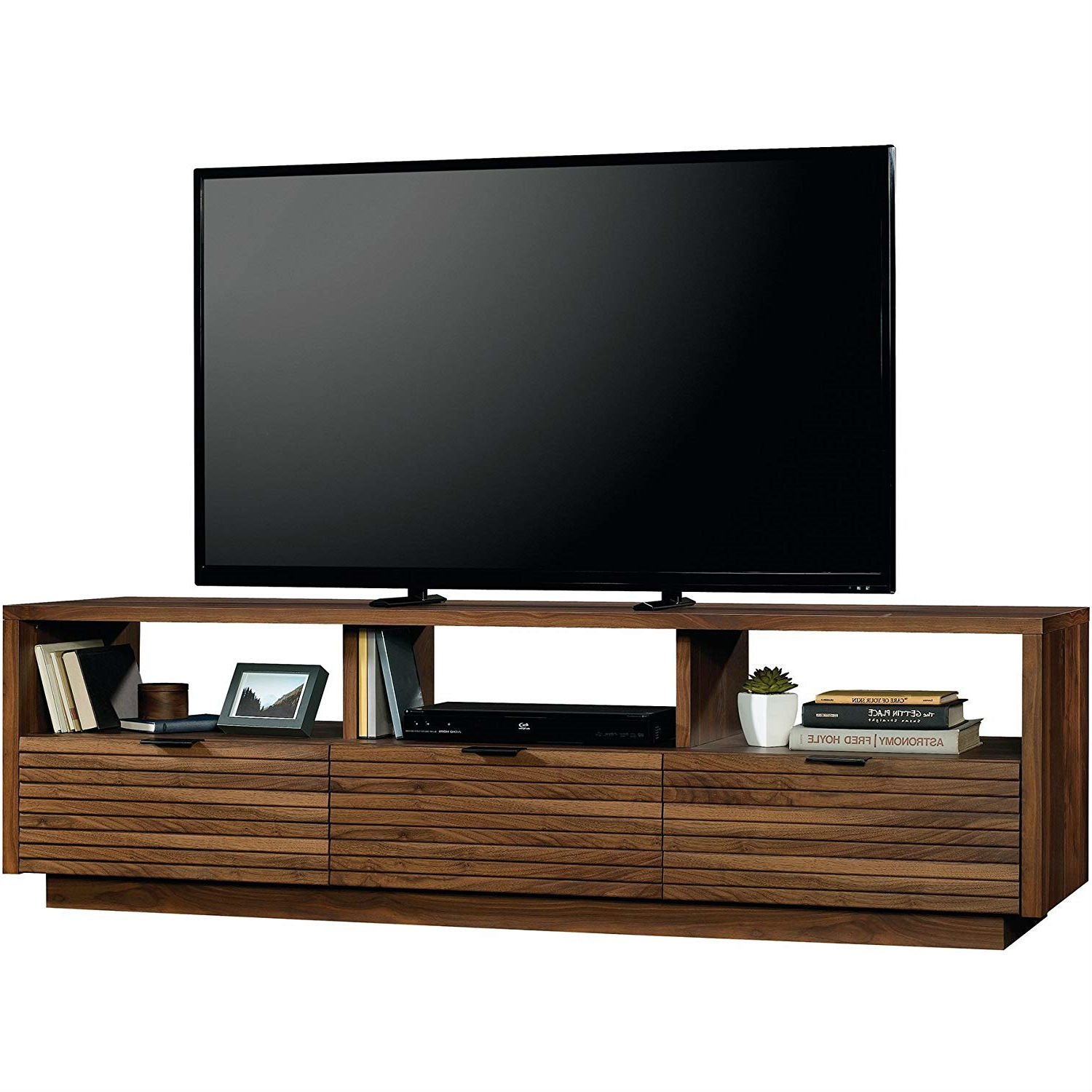 Modern Walnut Finish Tv Stand Entertainment Center Fits Up To 70 Inch