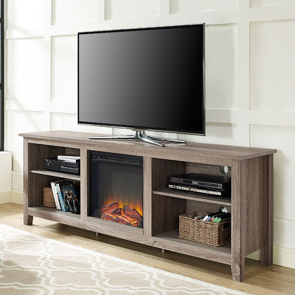 Driftwood 70inch TV Stand Space Heater Electric Fireplace