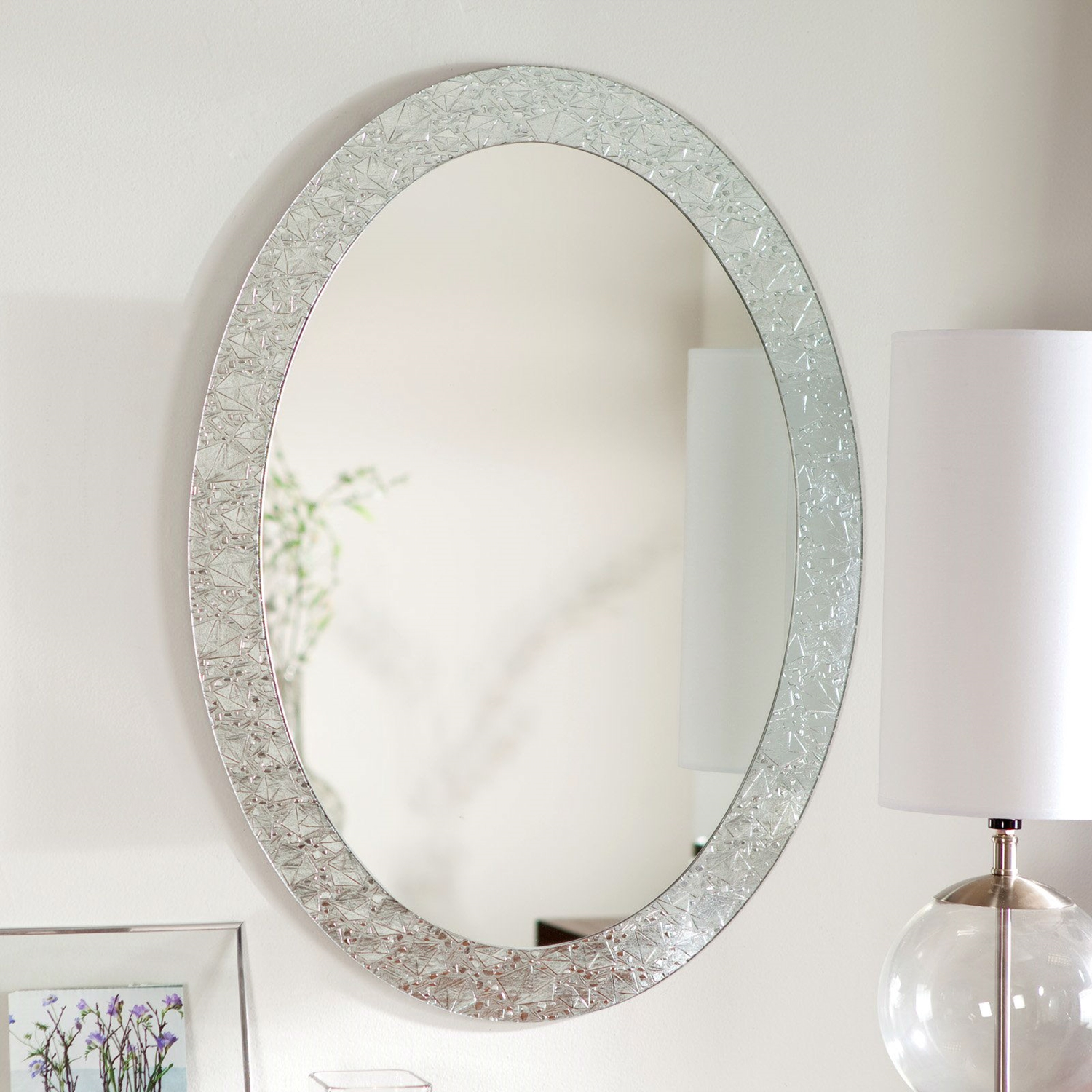 Oval Frame-less Bathroom Vanity Wall Mirror with Elegant Crystal ...
