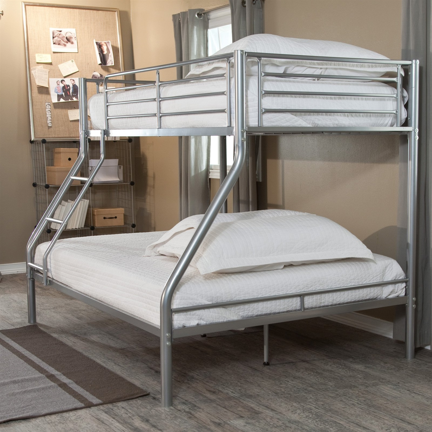 Modern Twin over Full size Bunk Bed in Silver Metal Finish ...
