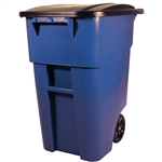 50 Gallon Blue Commercial Heavy-Duty Rollout Waste/Utility Container