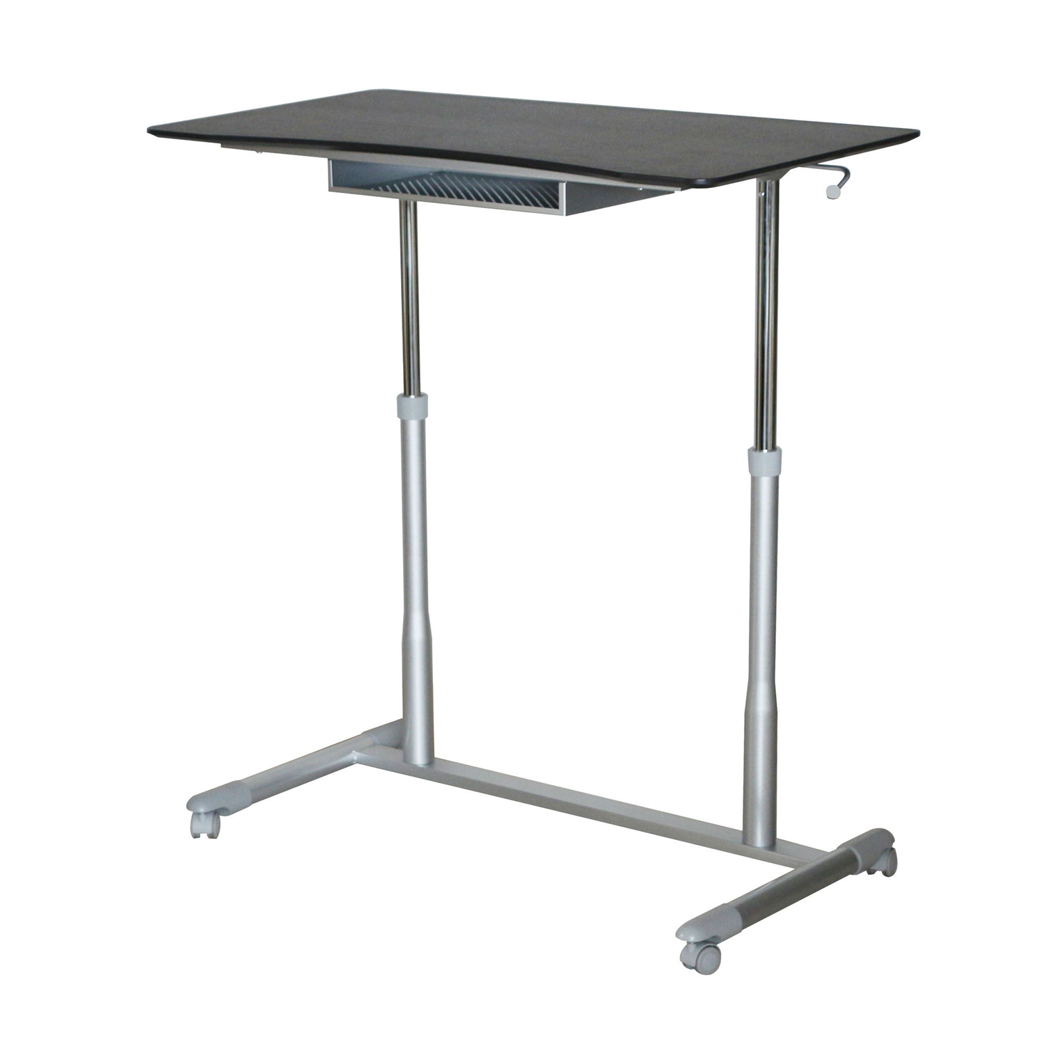 Espresso Adjustable Height Sitting Standing Desk Ergonomic Mobile