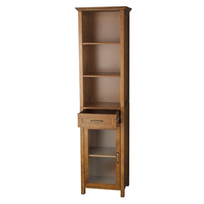 Oak Finish Bathroom Linen Tower Storage Cabinet with Shelves ...