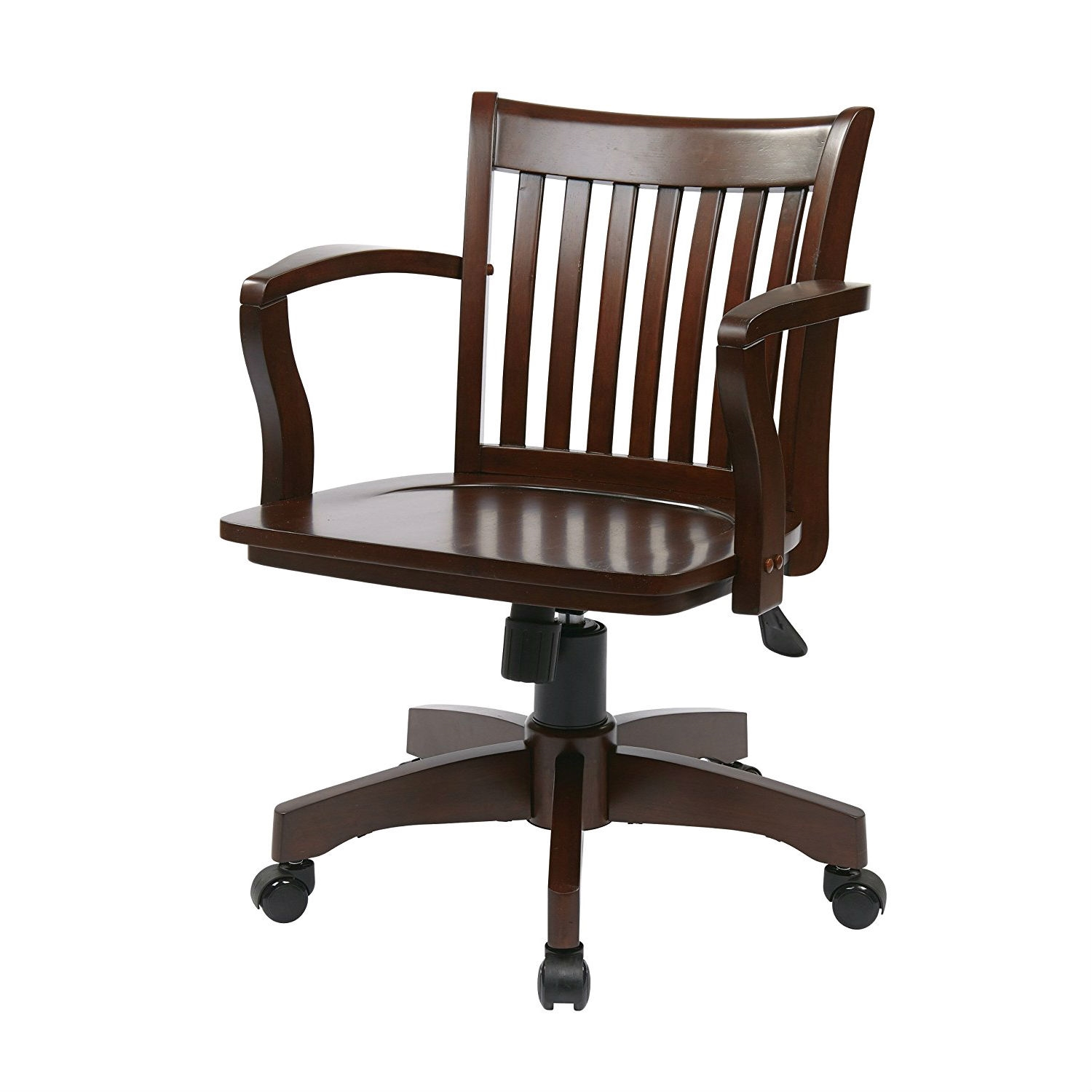 Delicieux Espresso Wood Bankers Chair With Wooden Arms And Seat