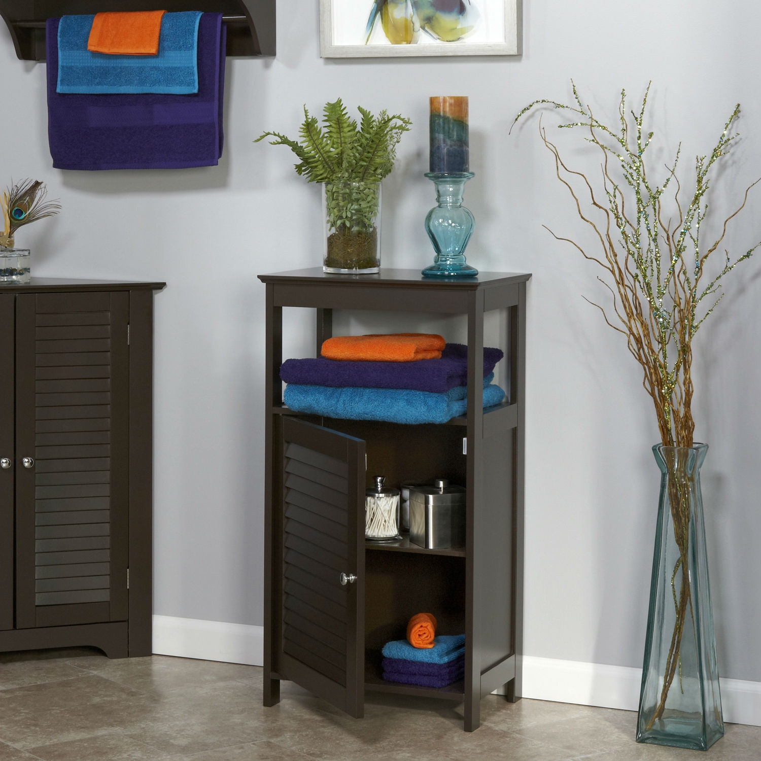 Picture of: Modern Bathroom Floor Cabinet Free Standing Storage Unit In Espresso Wood Finish Fastfurnishings Com