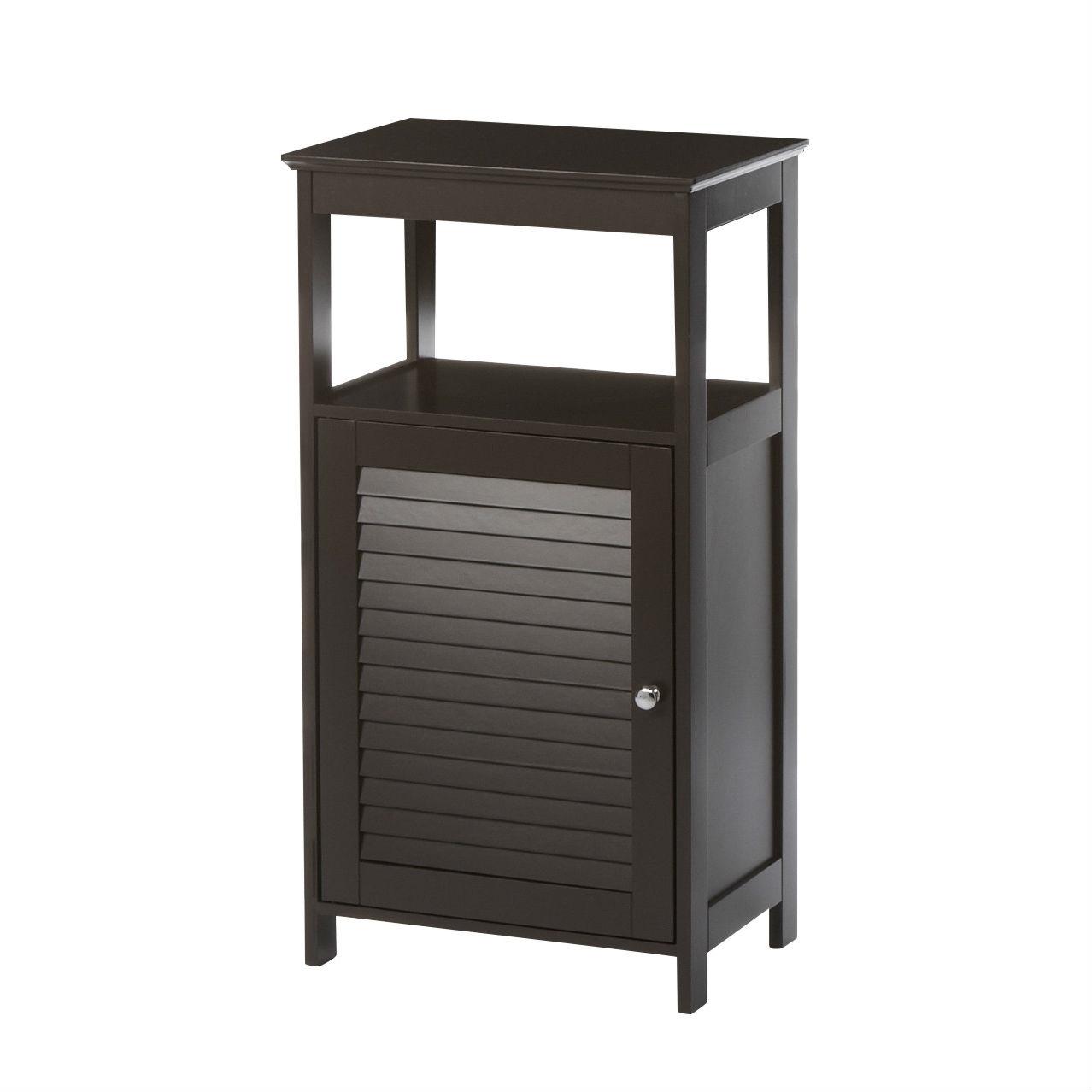 Modern Bathroom Floor Cabinet Free Standing Storage Unit In Espresso Wood Finish Fastfurnishings Com