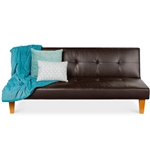 Convertible PU Leather Tufted Lounge Futon Sofa Bed Adjustable Back in Brown