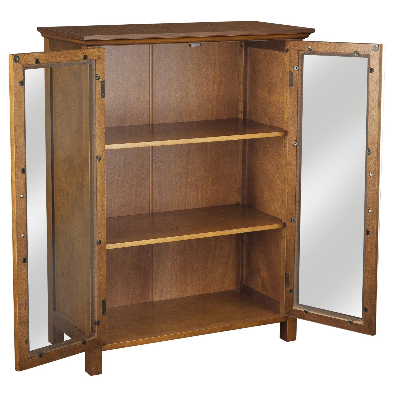 Oak Finish Bathroom Floor Cabinet With 2 Glass Doors Storage