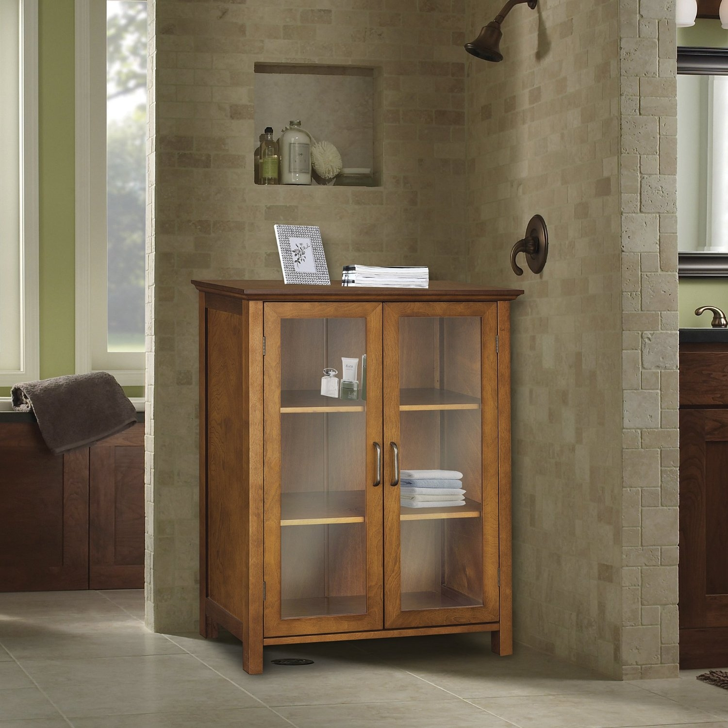 Oak Finish Bathroom Floor Cabinet With 2 Glass Doors Storage