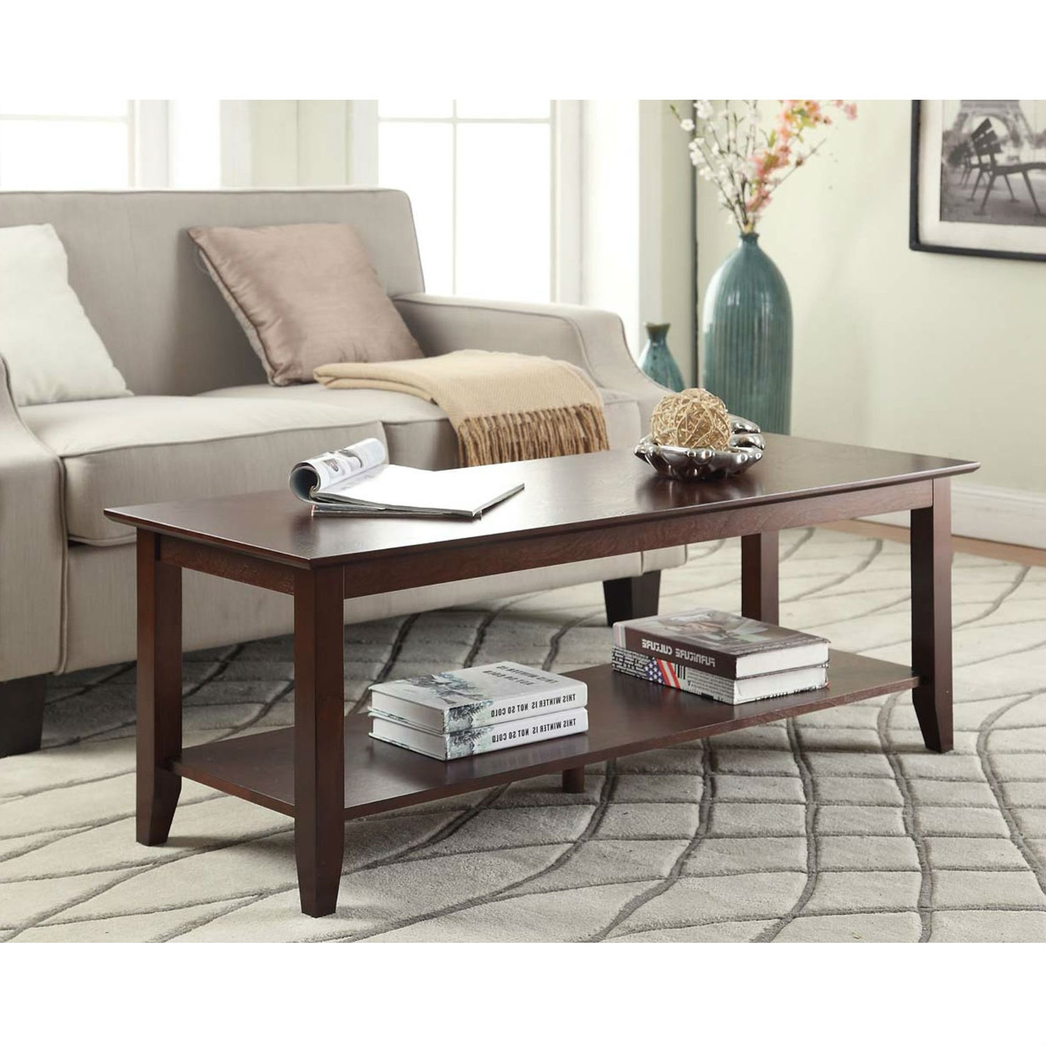 Eco friendly espresso wood coffee table with bottom shelf Eco friendly coffee table