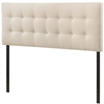 Full size Ivory Fabric Upholstered Button-Tufted Headboard
