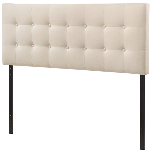 full size ivory fabric upholstered button tufted headboard. Black Bedroom Furniture Sets. Home Design Ideas