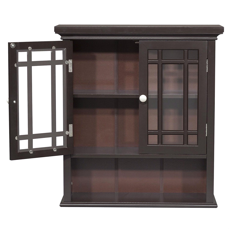 Gentil Dark Espresso 2 Door Bathroom Wall Cabinet With Open Shelf |  FastFurnishings.com