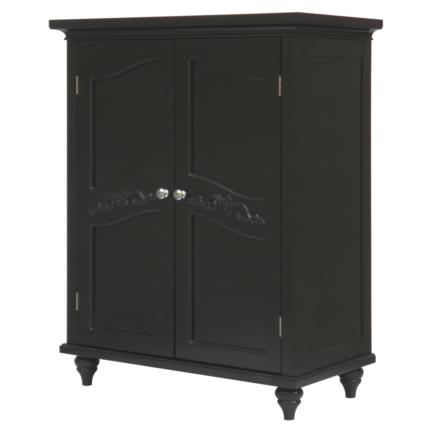 Dark Espresso Wood Bathroom Floor Cabinet With Traditional Crafted Engraving Doors Fastfurnishings Com