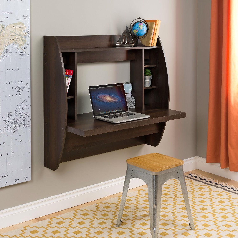 Wall Mount Space Saving Modern Laptop puter Desk in Espresso