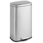 Modern 8-Gallon Stainless Steel Trash Can with Foot Pedal Step Lid Open Design