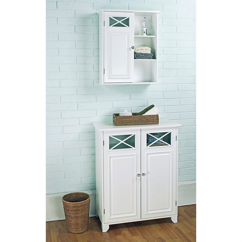 White 2-Door Bathroom Floor Cabinet with Adjustable Storage Shelf ...