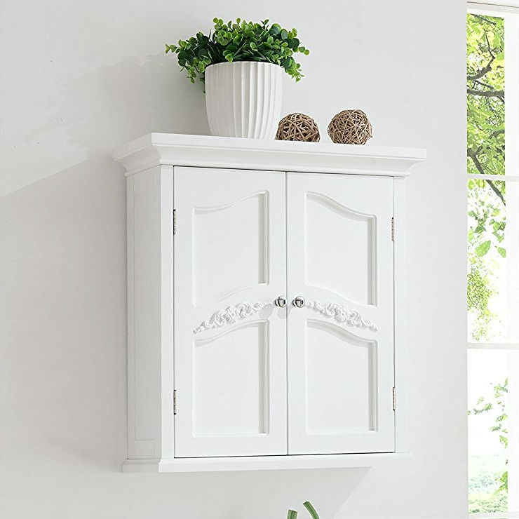 French Clic Style 2 Door Bathroom Wall Cabinet In White