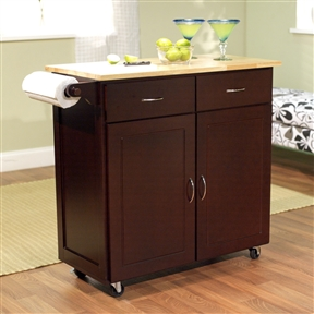 "35.5"" H x 43"" W Portable Kitchen Island Cart with Natural Wood Top in Espresso"