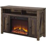 英寸的中号棕色木质电视柜,带瓦特电壁炉