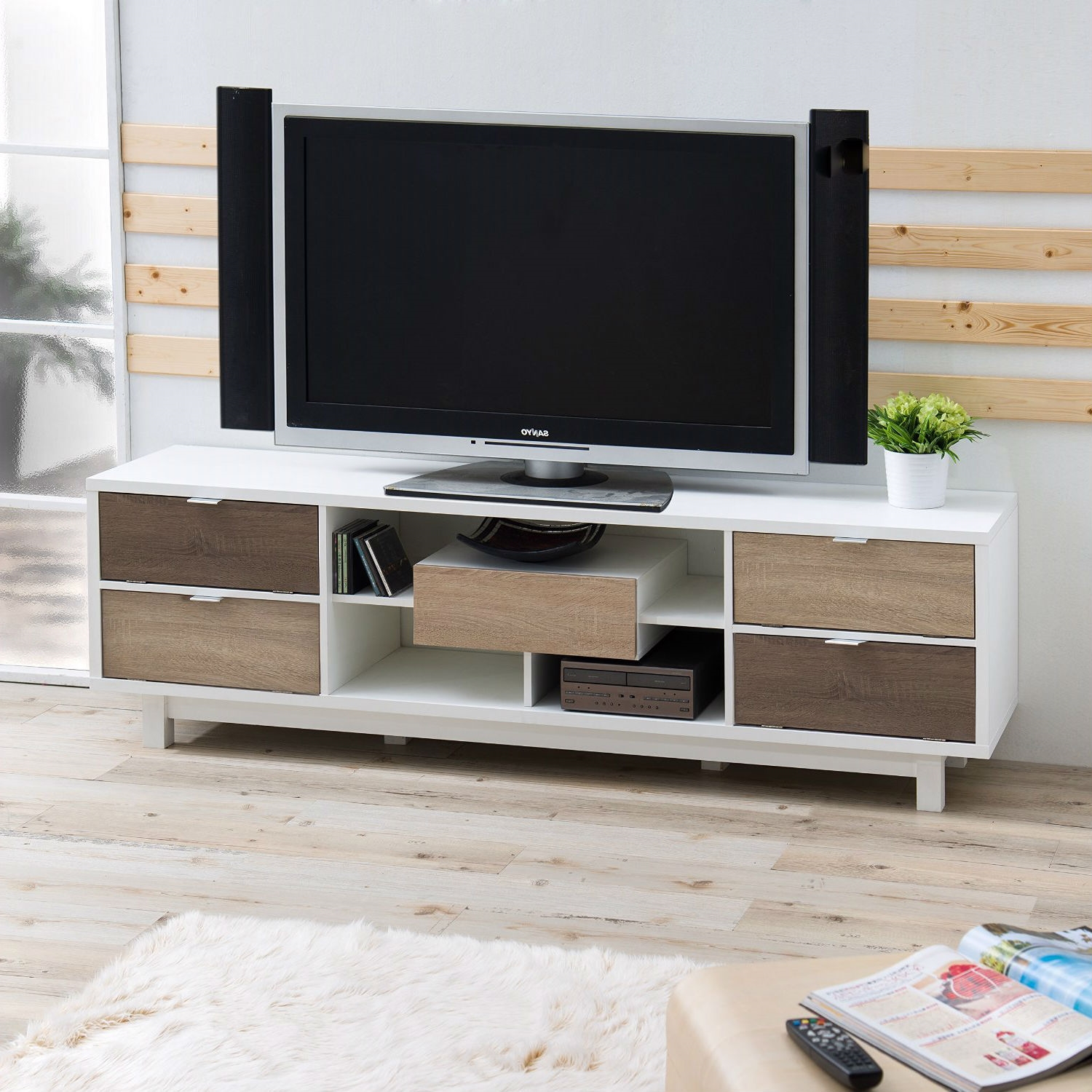 Modern 70inch White TV Stand Entertainment Center with Natural Wood