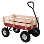 Sturdy Red Wood Panel Garden Cart Wagon