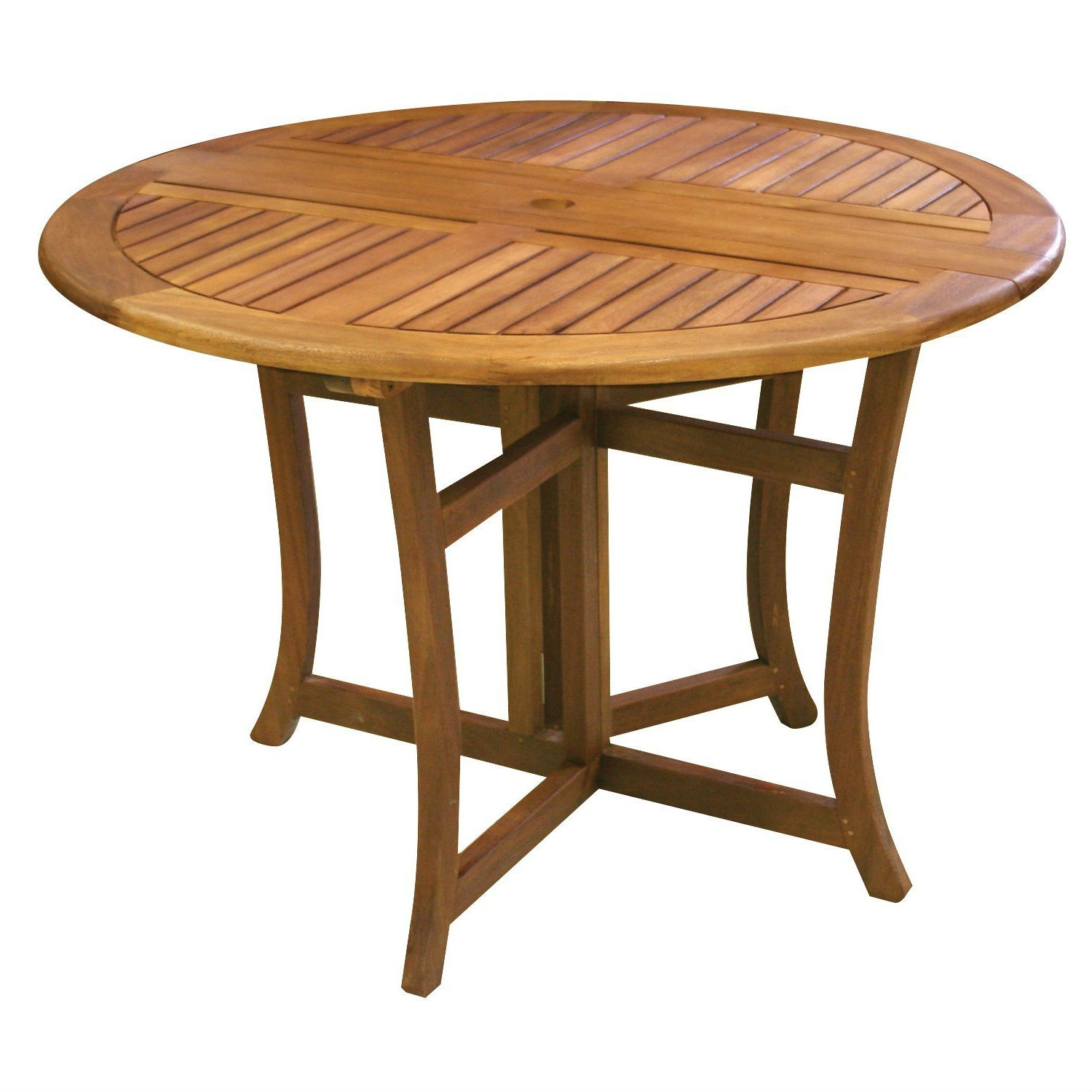 Outdoor Folding Wood Patio Dining Table 43 Inch Round With Umbrella Hole Fastfurnishings Com