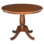 Round 36-inch Pedestal Dining Table in Espresso Finish