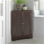 Espresso Corner 2 Door Space Saving Bathroom Storage Cabinet