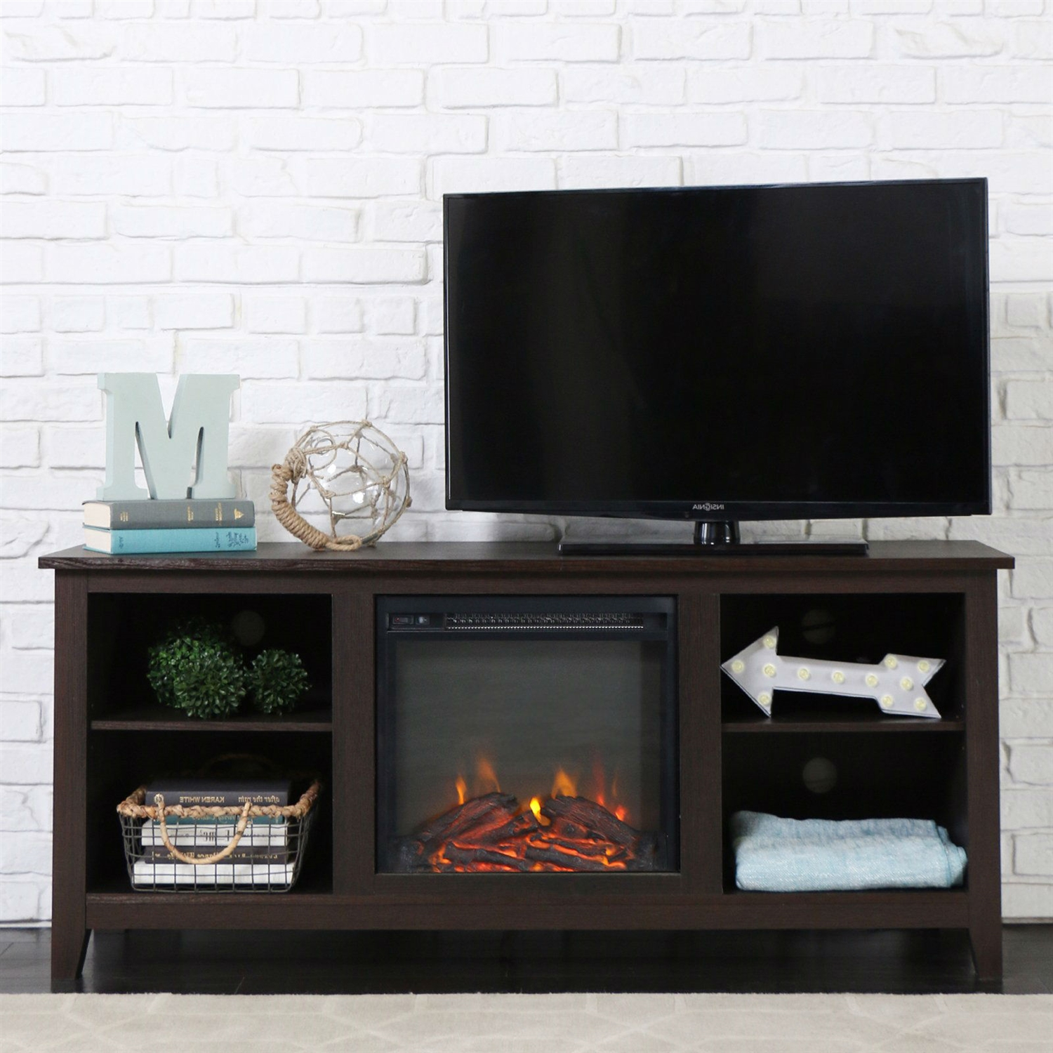 This Espresso Wood 58-inch TV Stand Electric Fireplace Space Heater brings warmth and class to any living room setting. Crafted from robust solid wood