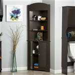 Espresso Bathroom Linen Tower Corner Towel Storage Cabinet with 3 Open Shelves