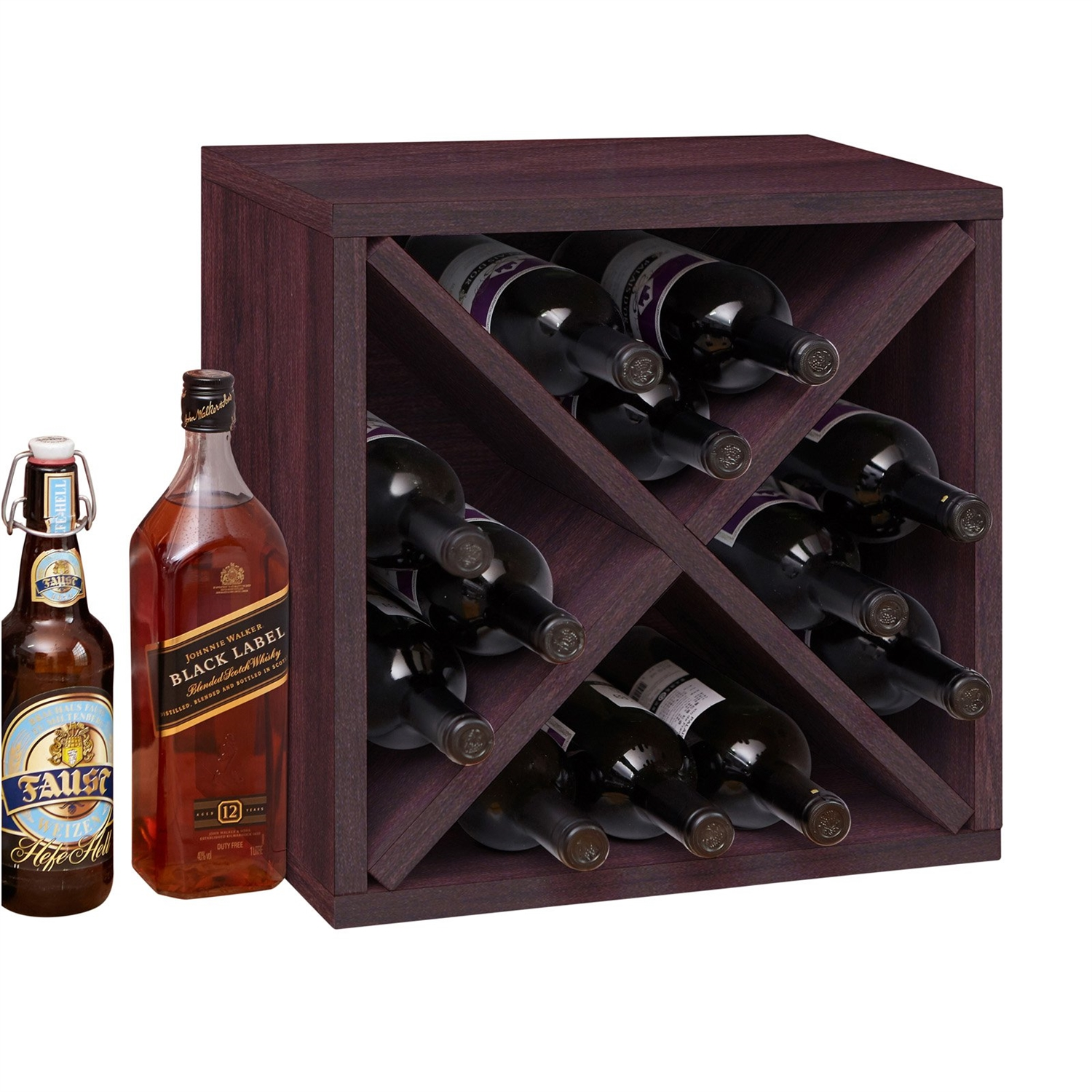 Stackable 12 bottle wine rack in espresso brown wood finish fastfurnishings com
