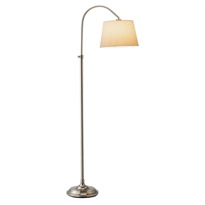 Elegant Arch Floor Lamp with White Linen Tapered Drum Shade