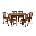Mission Style 7-piece Dining Set in Mahogany Wood Finish